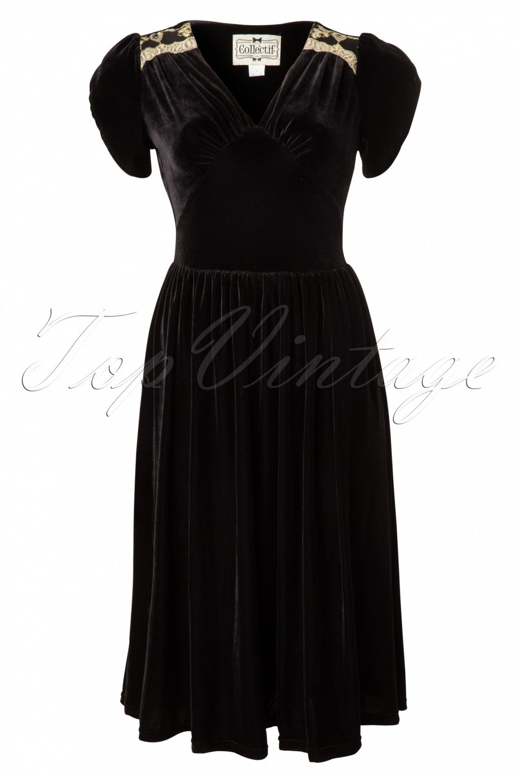 Collectif Clothing - 40s Helen Black Velvet Dress