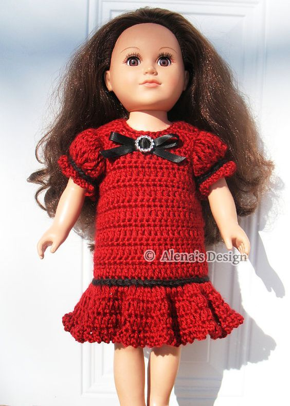 Crochet Pattern 151 Holiday Doll Dress American Doll Crochet