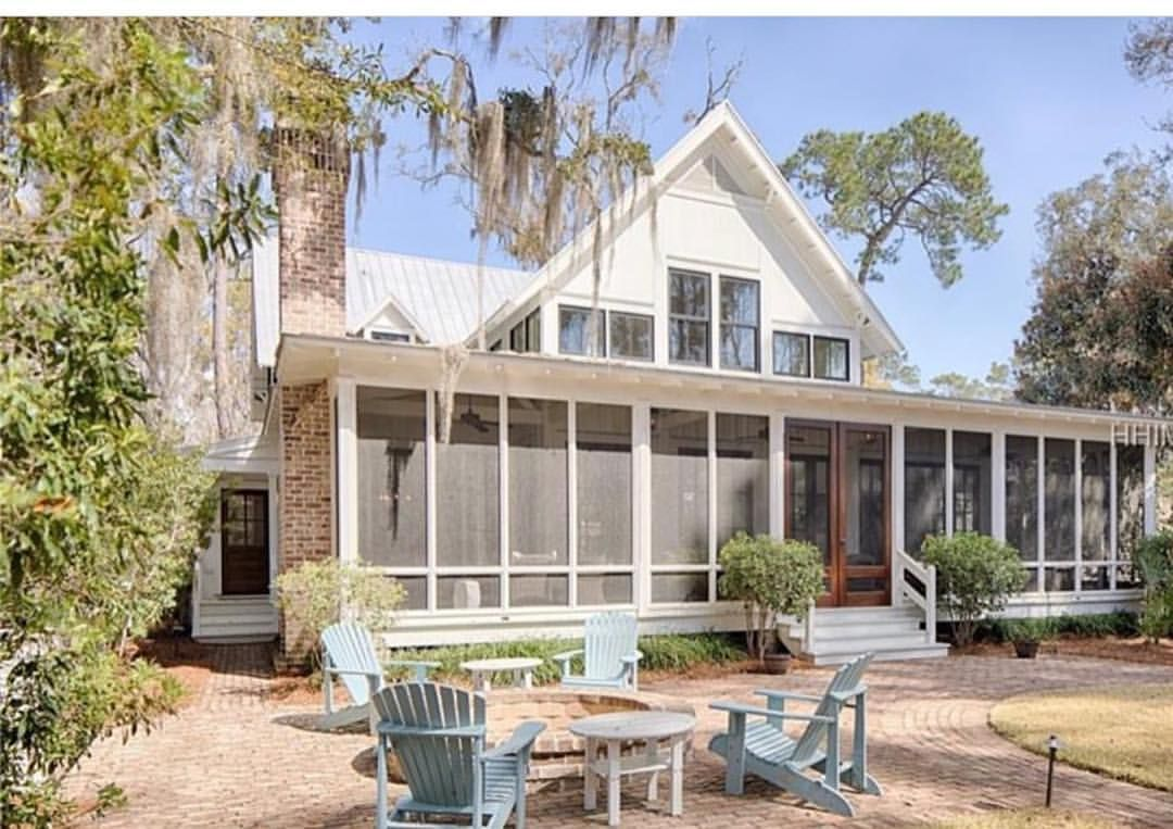 Living In Florida Porches Are Very Important To Us Not Only Did We Do The Wrap Around Porch On The Front We Ch Bluffton Wrap Around Porch Southern Farmhouse