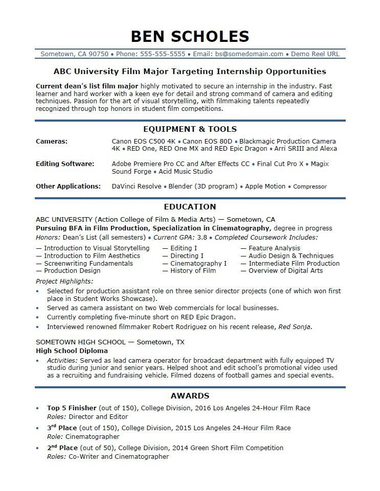 Great Resume Template For Internship Picture
