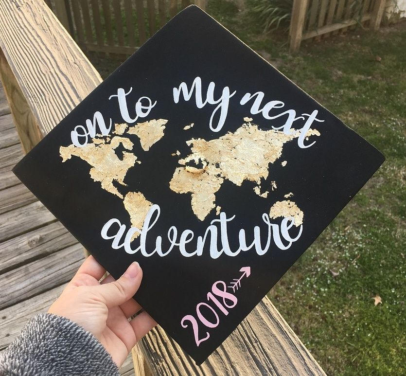 gold foil map on to my next adventure hand painted quote graduation cap