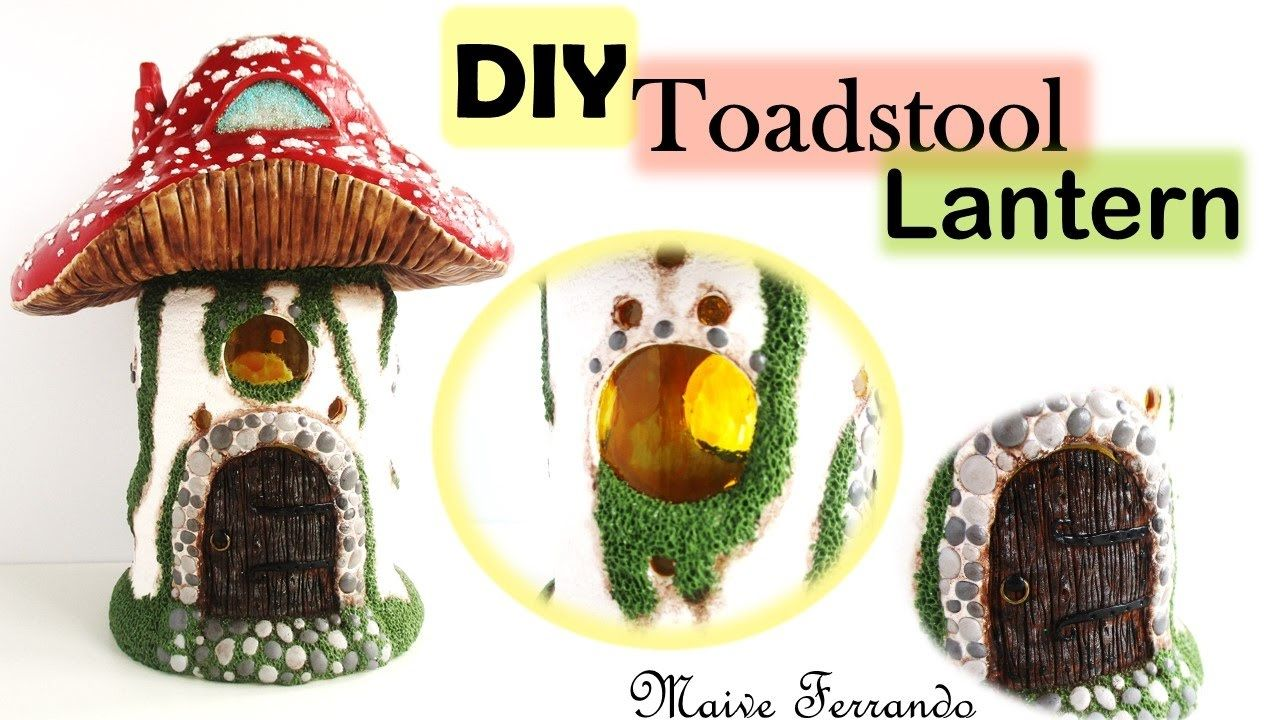 DIY Toadstool Fairy House Lantern/Jar Polymer Clay Tutorial || Maive Fer...
