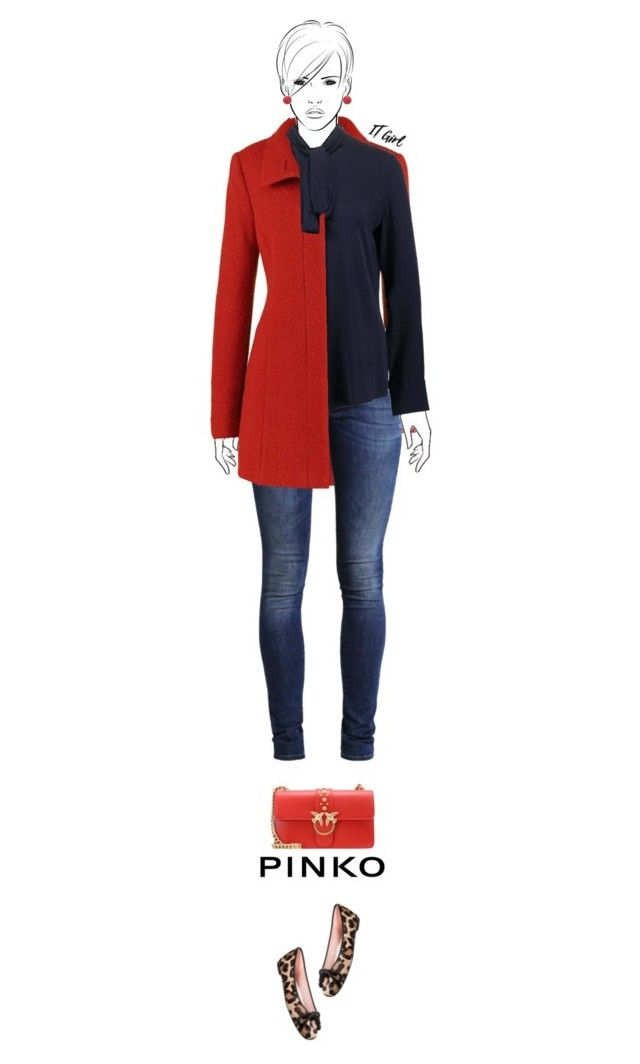 Casual outfit: Navy - Red - Animal Print by downtownblues on Polyvore #casualwear  #necktieblouse  #skinny  #shoulderbag #croppedcoat #animalprint  #flats #Pinko #Strenesse #Diesel