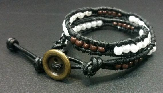 Double wrap black leather bracelet, featuring white pearl beads and brown seed beads. Perfect for him or her.