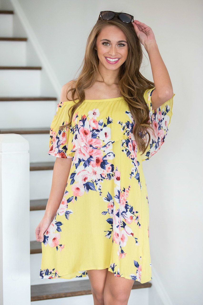f018efa728 Colorful Coastline Floral Dress Yellow - The Pink Lily