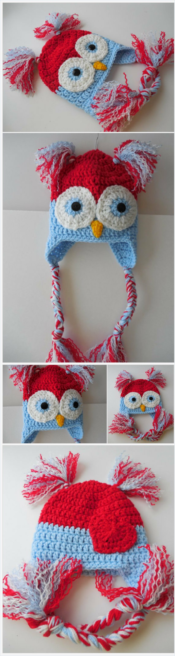 Crochet Owl Hat - Red White and Blue -Baby to Adult Sizes - Earflap ...