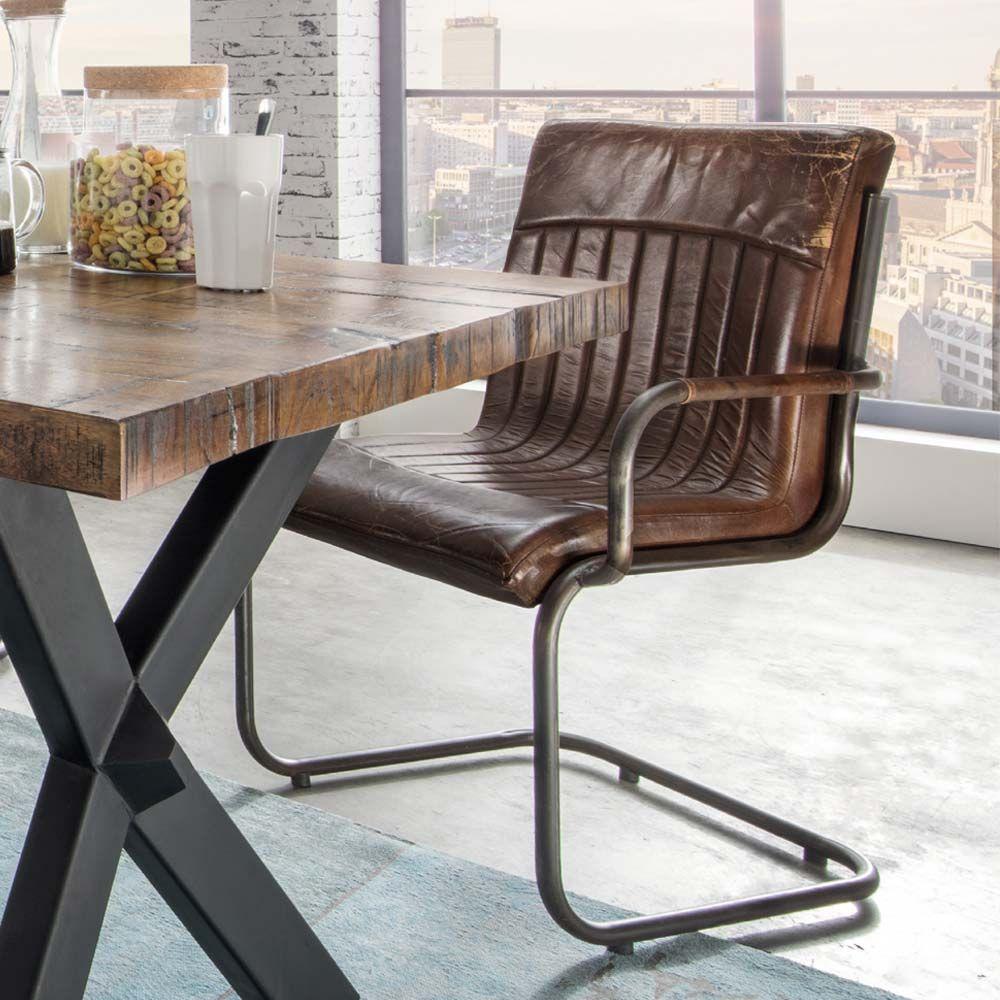 Faszinierend Sessel Für Esstisch Ideen Von Freischwinger Leder An Einem Aus Holz