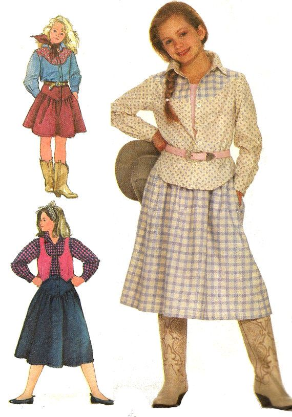 Child\'s Shirt Pattern 1980s Cowgirl Rodeo Skirt Vest Children\'s ...