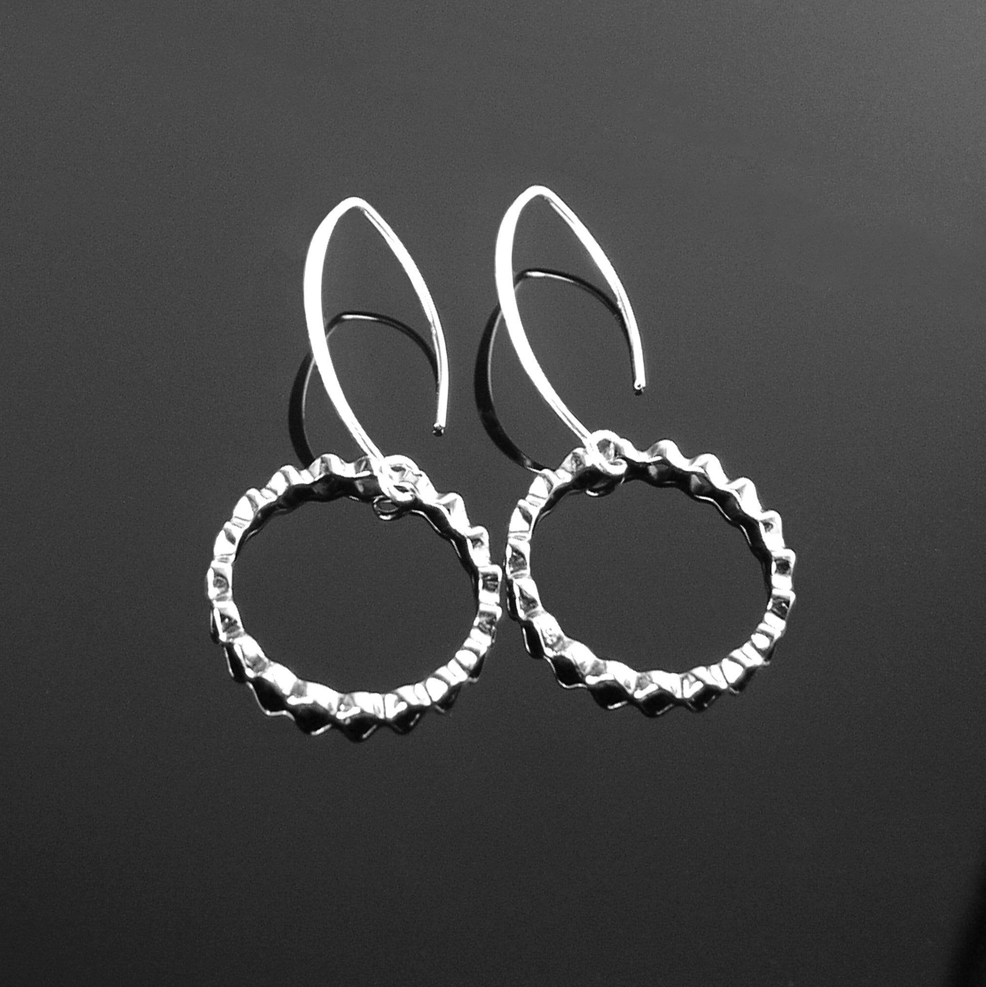 Unique Sterling Silver Long Earrings Textured Silver Earrings Hoop Style Drop Earrings