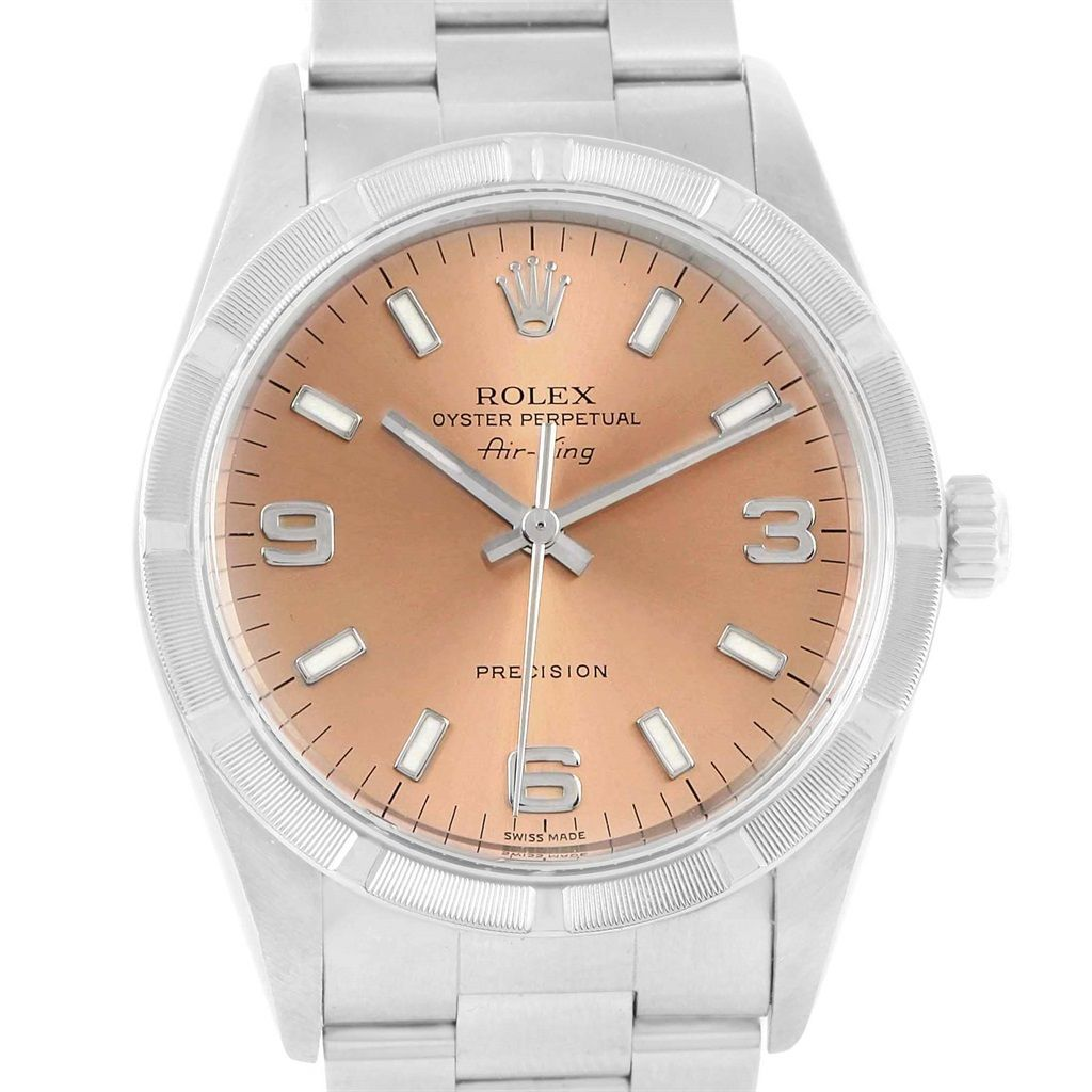 15861 Rolex Air King Stainless Steel Salmon Dial Mens