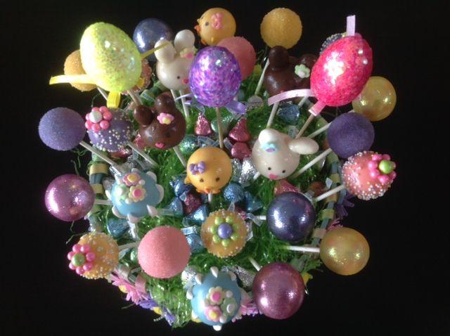 Easter Basket:  Coconut Cream Pie, Pink Lemonade and Rich Chocolate.  www.CakePopsByLilly.com www.Facebook.com/CakePopsByLilly