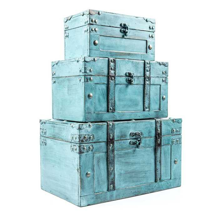 Decorative Trunk Boxes Impressive Antique Turquoise Storage Trunk Box Set  Command Central Design Inspiration