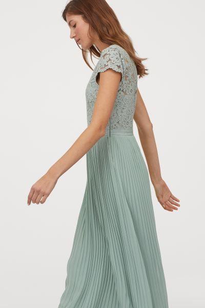 Langes plissiertes Kleid - Mintgrün - Ladies | H&M DE in ...