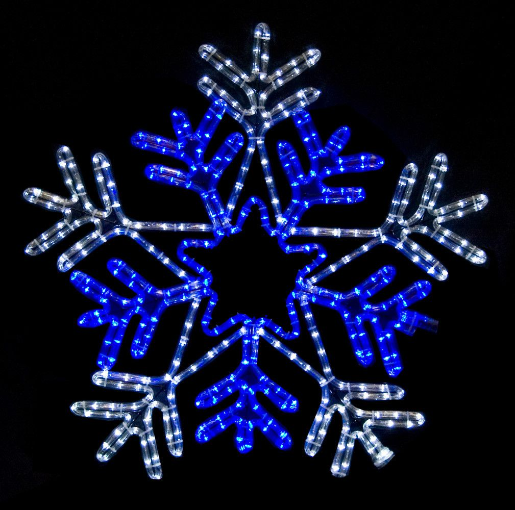 Led Snowflake With Blue Center Blue And White Lights Blue