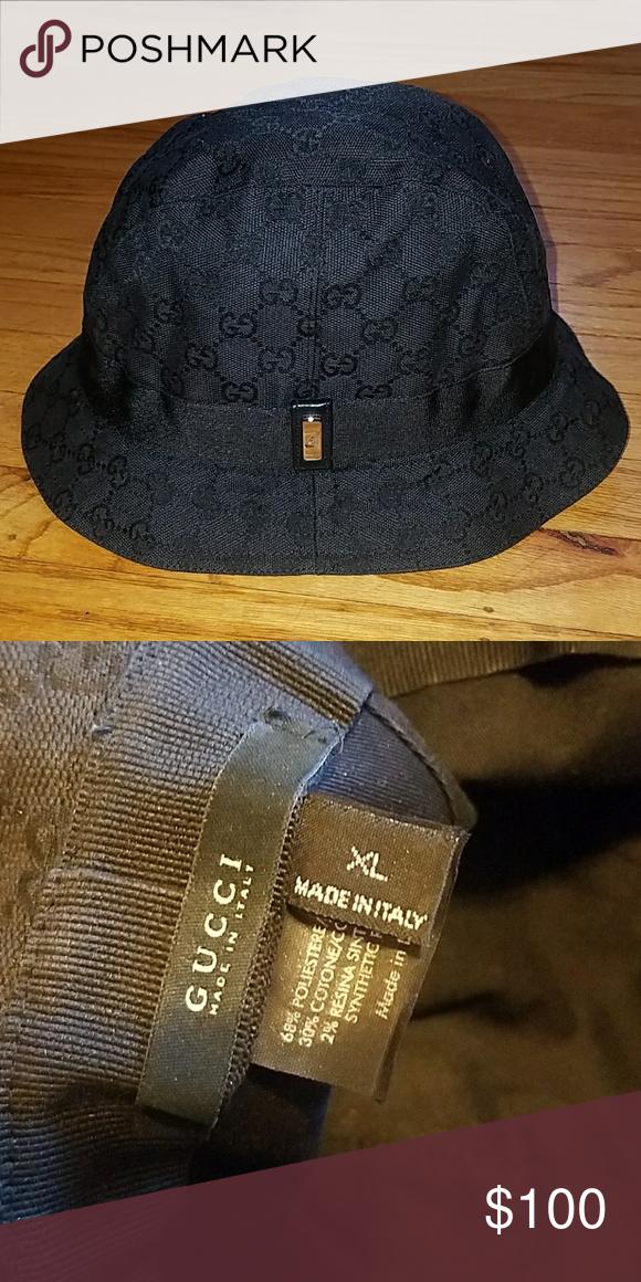 Black Gucci bucket hat Black on black signature GG print Gucci bucket Gucci  Accessories Hats 69c593992e32