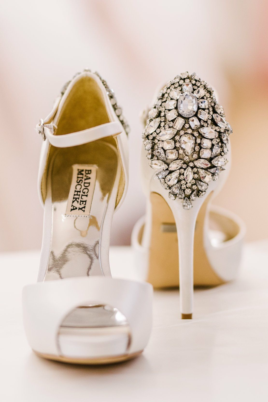 Wedding dress flats  The gorgeous Dawn peep toe wedding shoe by Badgley Mischka are