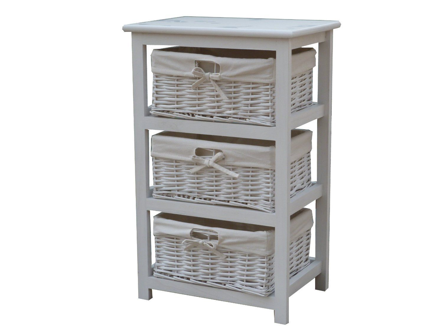 wooden storage tower with 3 wicker baskets boxes with white lining cabinet and drawers in