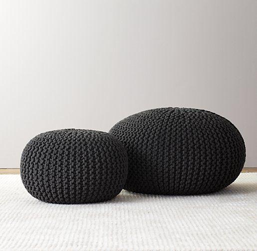 Knit Cotton Pouf Bachelorette Pad Knitted Pouf