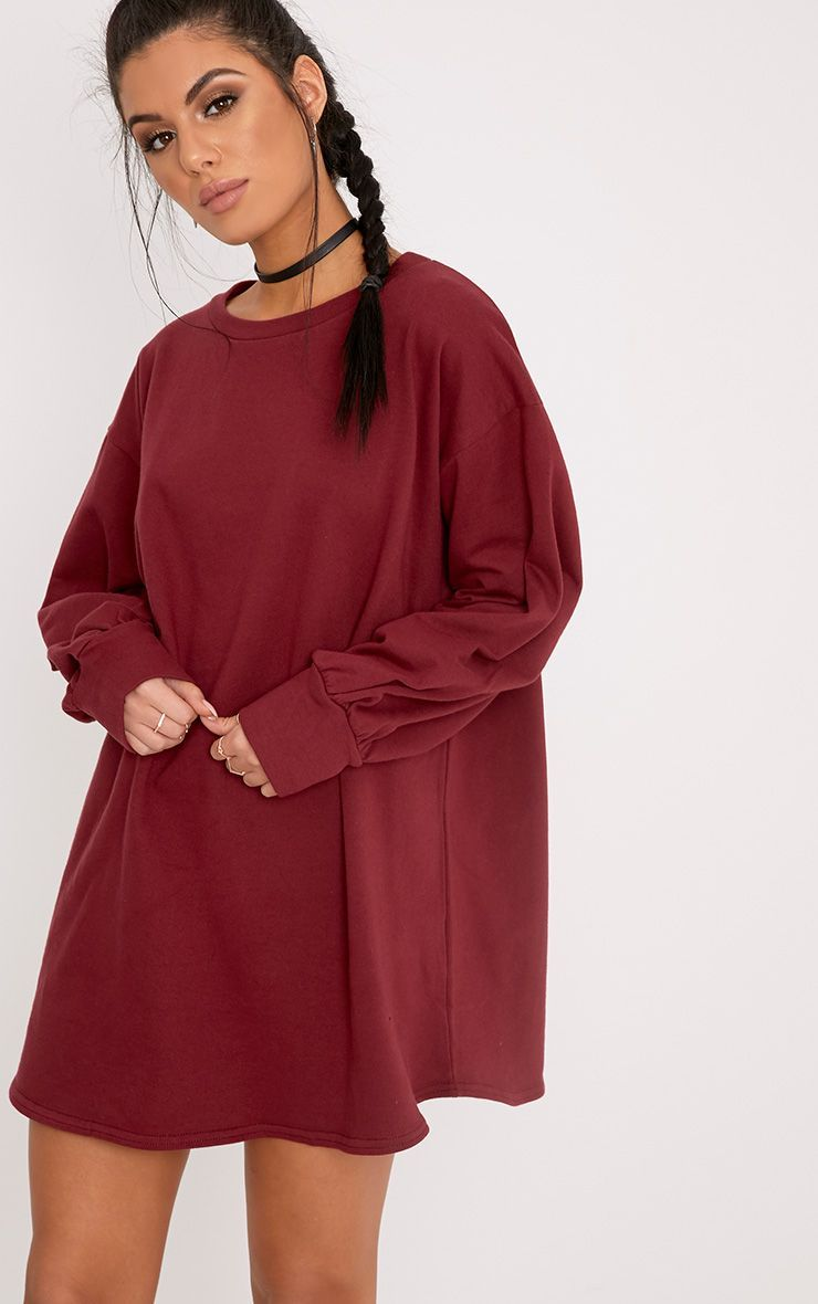 b347ea3578 The Burgundy Oversized Sweater Dress. Head online and shop this season s  range of dresses at PrettyLittleThing. Express delivery available.