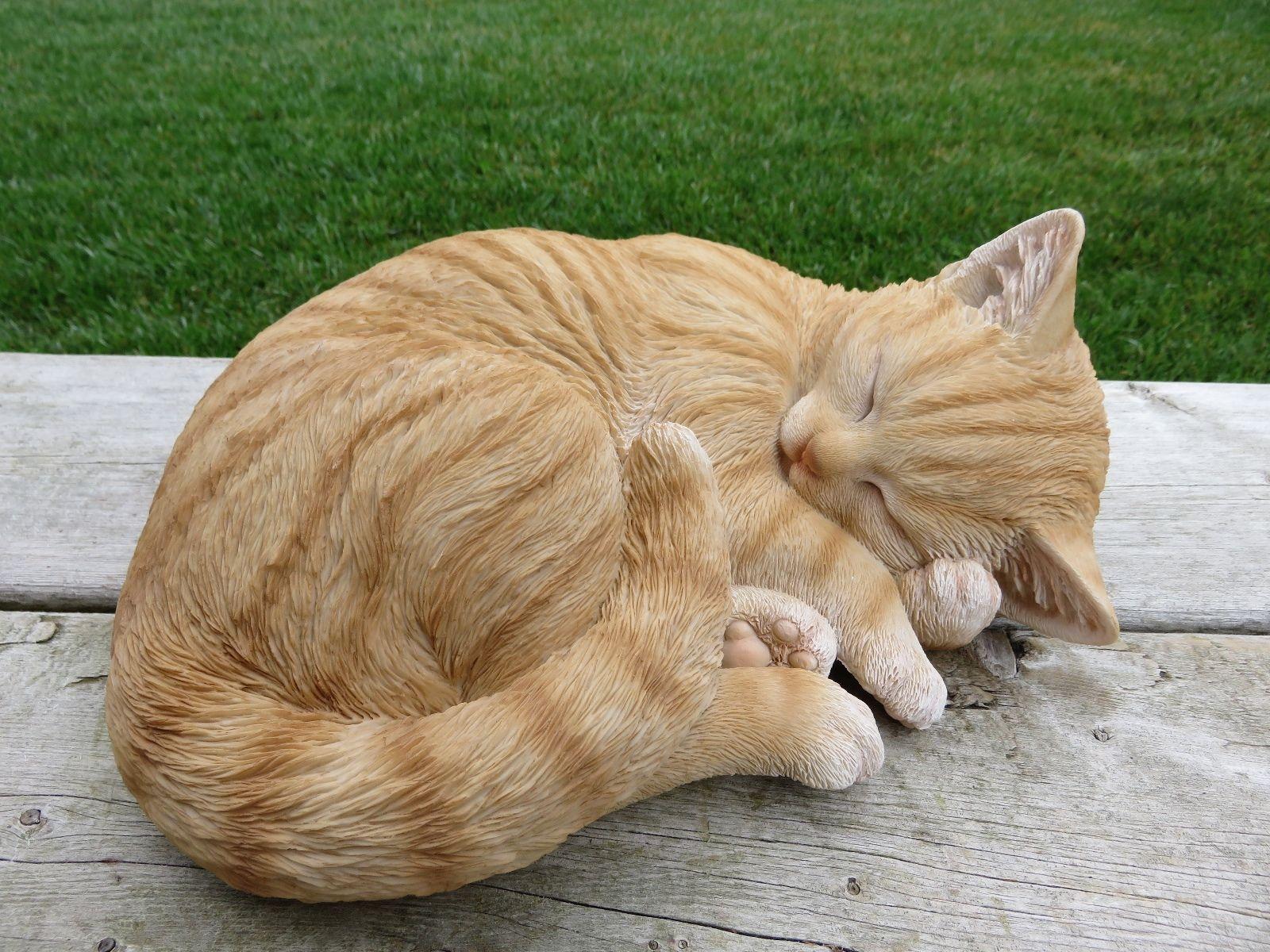 Orange Tabby Cat Figurine Kitten Lying Down Curled Up Animal Farm Resin Feline Size 11 0x8 5x4 5 Tabby Cat Cats Orange Tabby Cats