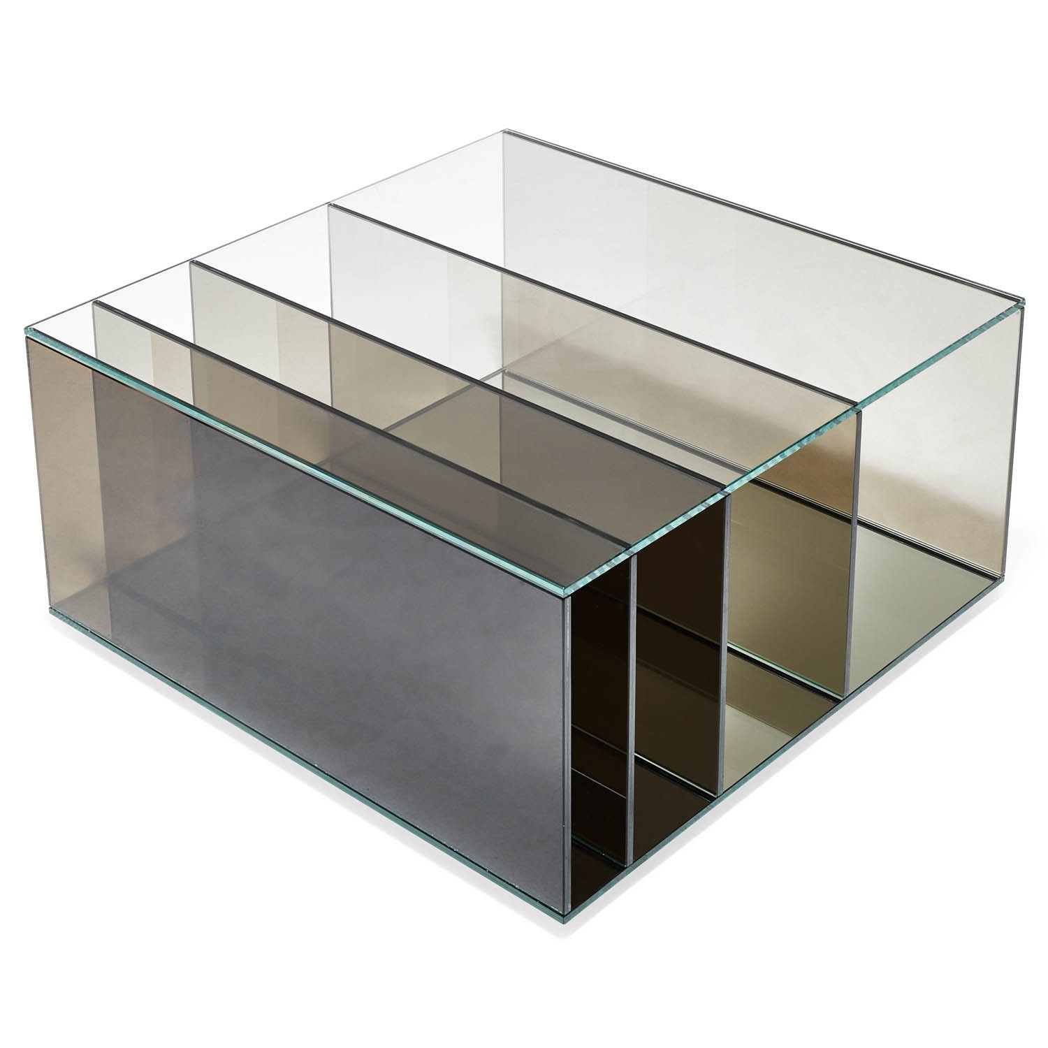 A blend of centuries-old Italian craftsmanship and the innovative art of glass making technology. Designed by Piero Lissoni and handcrafted from extra-light, thermo-welded glass - and nothing else - this piece is an extraordinary feat of modern design. A mirror base bestows great depth and inspires a play of magical reflections and gradient color, while compartments at the bottom provide storage space.