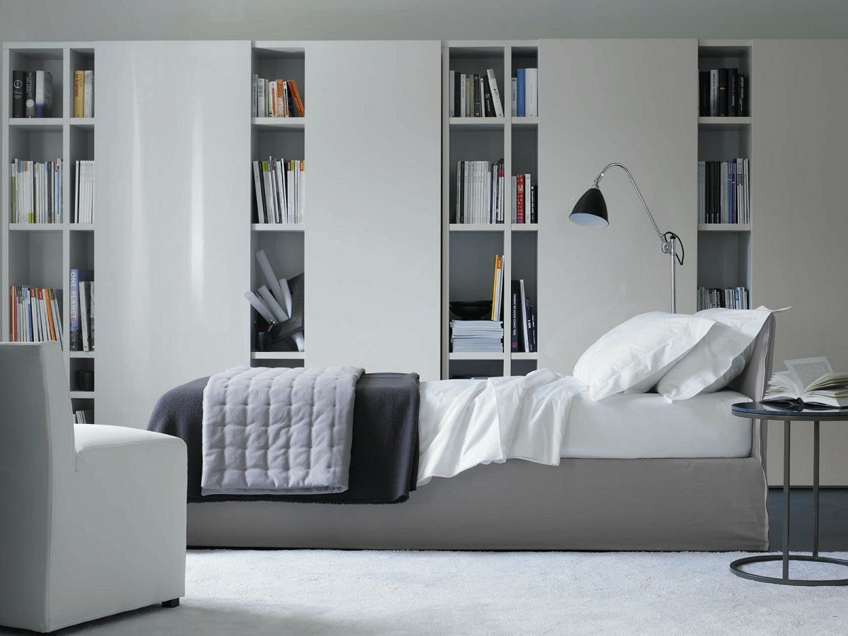 Library Bedroom Design Ideas Using Wall Bookshelf In Unique Design U2013 FNW