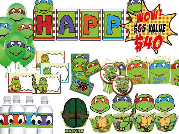 INSTANT DOWNLOAD Teenage Mutant Ninja Turtles Party Kit, Birthday Party Package on Etsy, $40.00