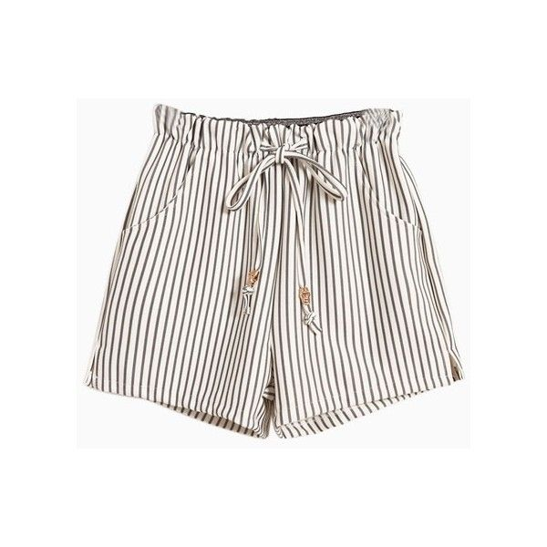 Vertical Striped Shorts With Tie Waist (€21) ❤ liked on Polyvore featuring shorts, bottoms, pants, short, tie waist shorts and short shorts