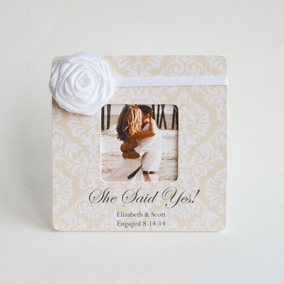 she said yes engagement picture frame personalized with names and date adorned with satin rose - Engagement Picture Frame