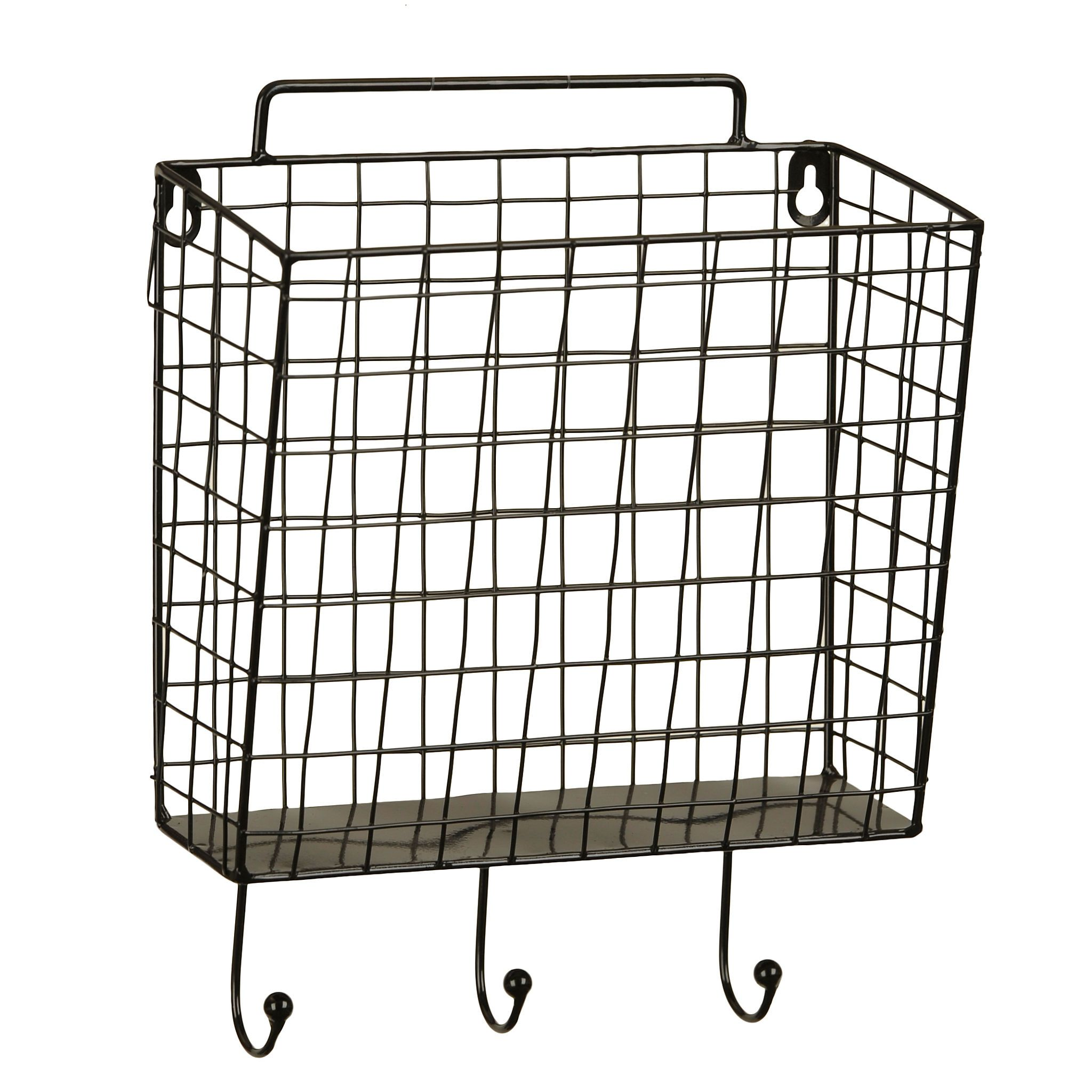 Black Metal Mesh Basket Wall Hook Baskets On Wall Wall Hooks Wall Basket Storage