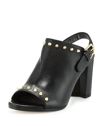 STUART WEITZMAN Commodore Studded Slingback Mule, Black. #stuartweitzman #shoes #pumps