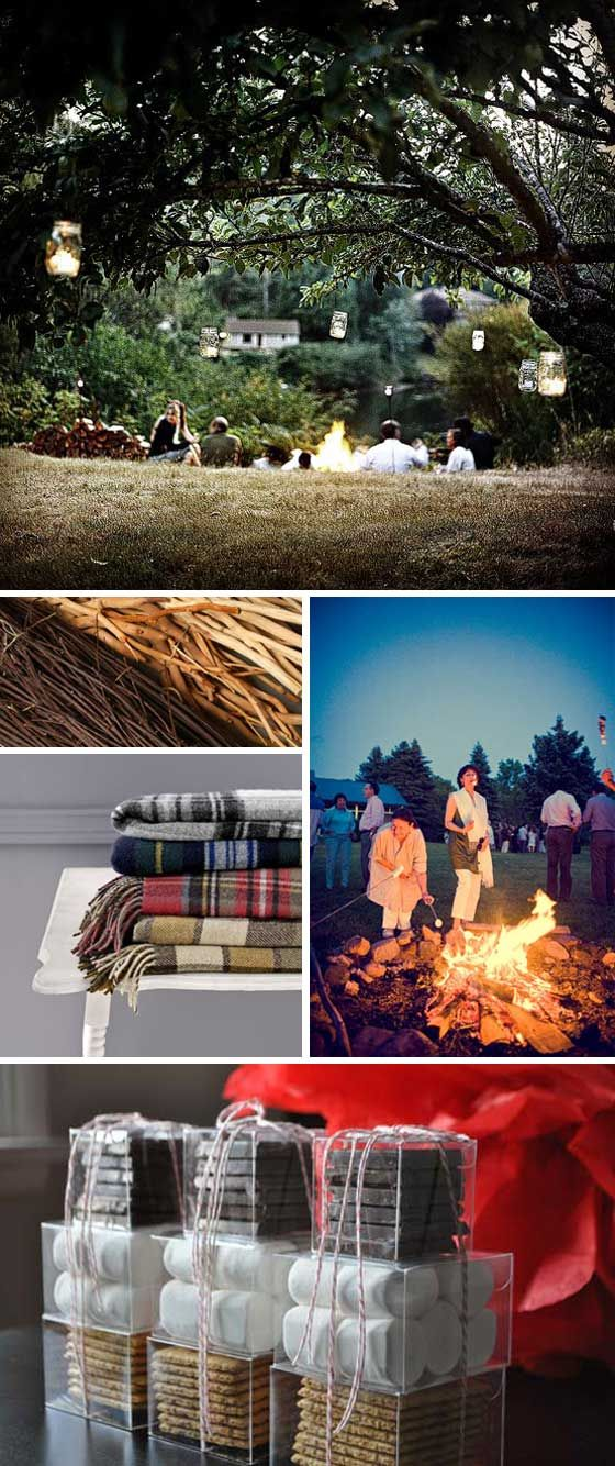 Inspired Goodness - blog - A Campfire Wedding. I probably wouldn't do this but it's cute and seems fun :)