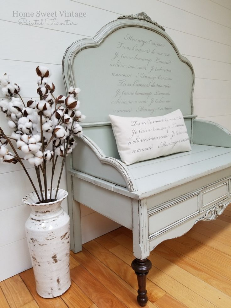 Farmhouse Bench Created From A 1940s Headboard And Footboard Painted In A Mix Of The Chippy