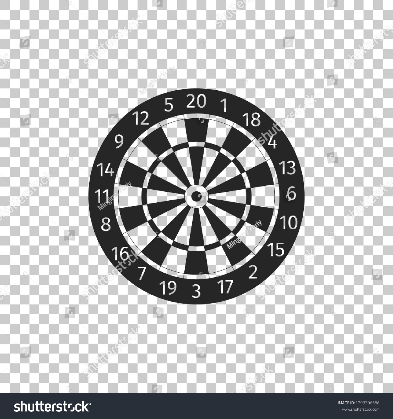Classic Darts Board With Twenty Black And White Sectors Icon Isolated On Transparent Background Dart Graphic Design Logo Modern Graphic Design Black And White