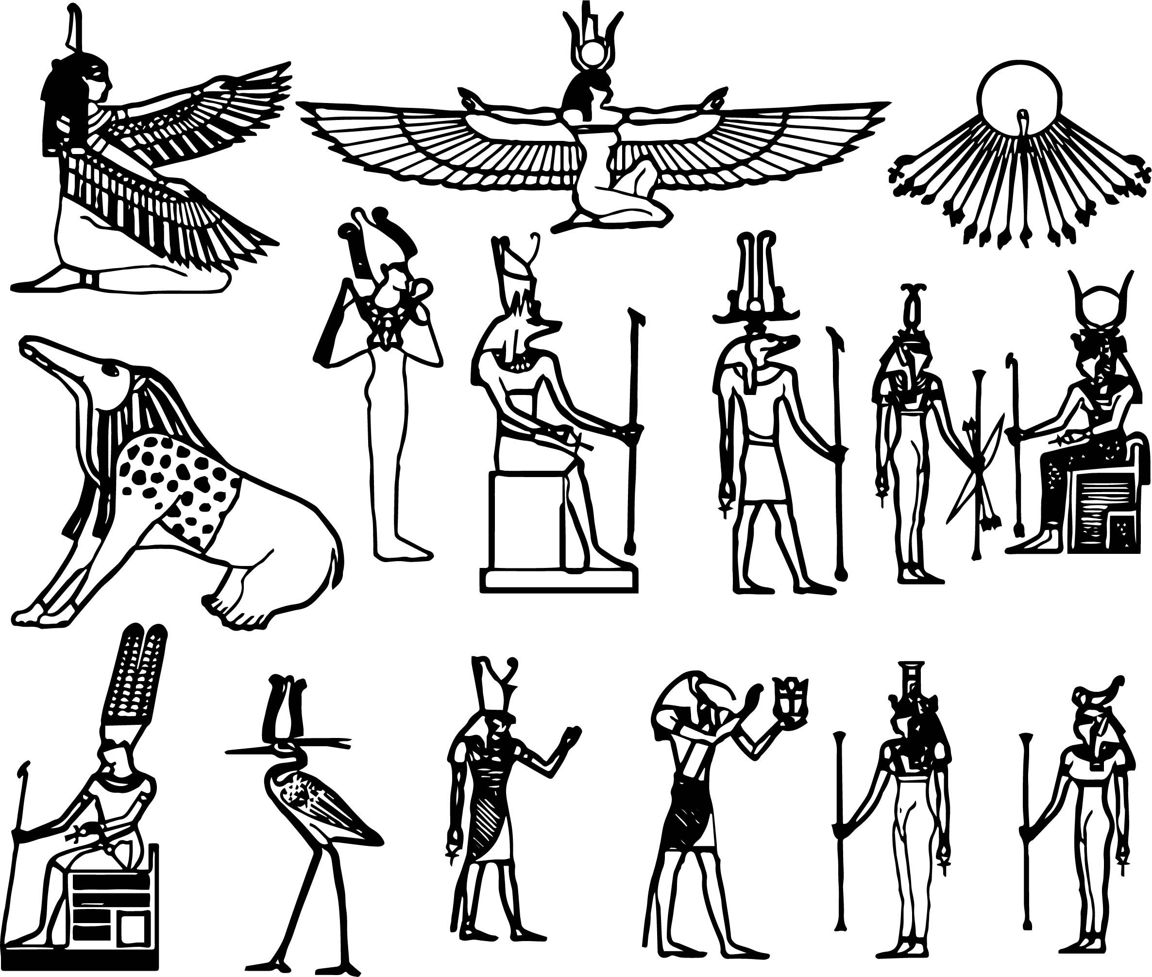 Nice Ancient Egypt Symbol Set Coloring Page