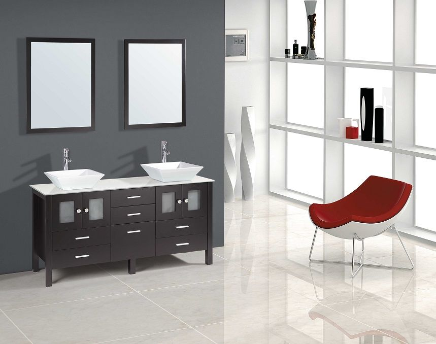 """Sutton 72"""" Bathroom Vanity with Over Mount Sinks: Home ..."""