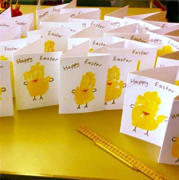 Hand Print Easter Chick Cards Twinkl Blog My Class Is In
