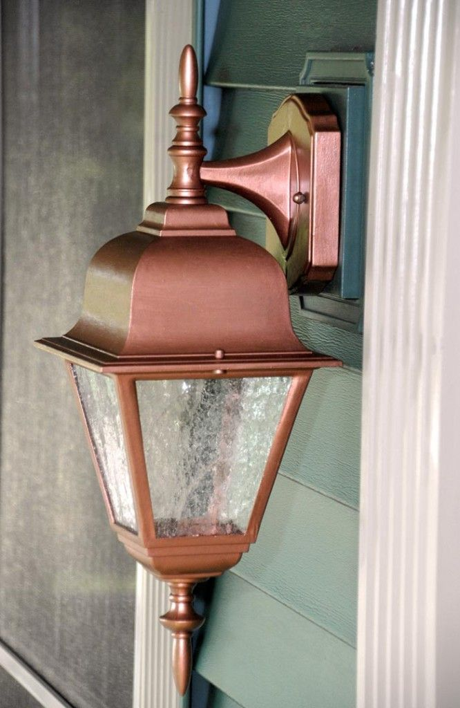 Exterior Porch Light Transformation With Copper Metallic Paint Modern Masters Project By Living Exterior Lighting Exterior Light Fixtures Lighting Makeover