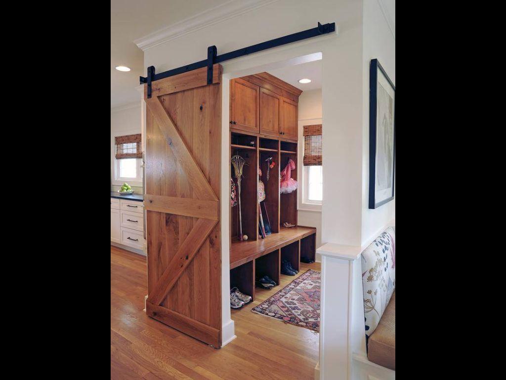 Mudd room with barn door house decor pinterest barn doors