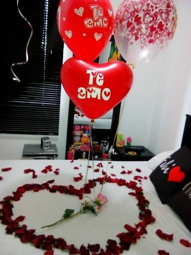 Noche romantica romantic diy ideas aniversario for Cuartos decorados romanticos con globos