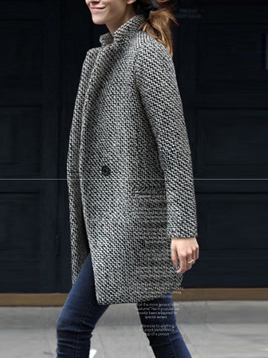 Blazer Traje Diario Gris Tallas Grandes De Mujer Abrigos Ropa Linda Para Mujer Abrigos De Moda