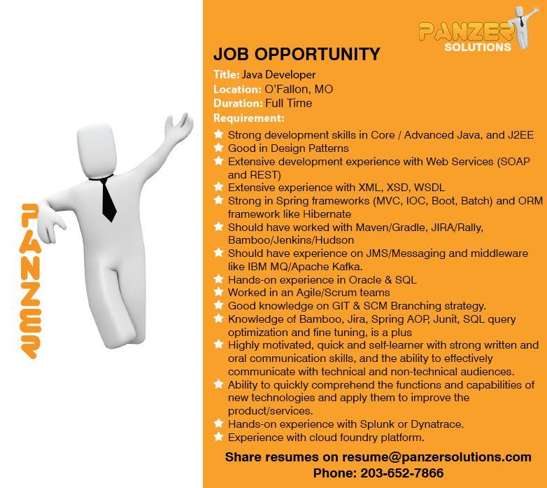 Job Title: Java Developer Location: O'Fallon, Missouri