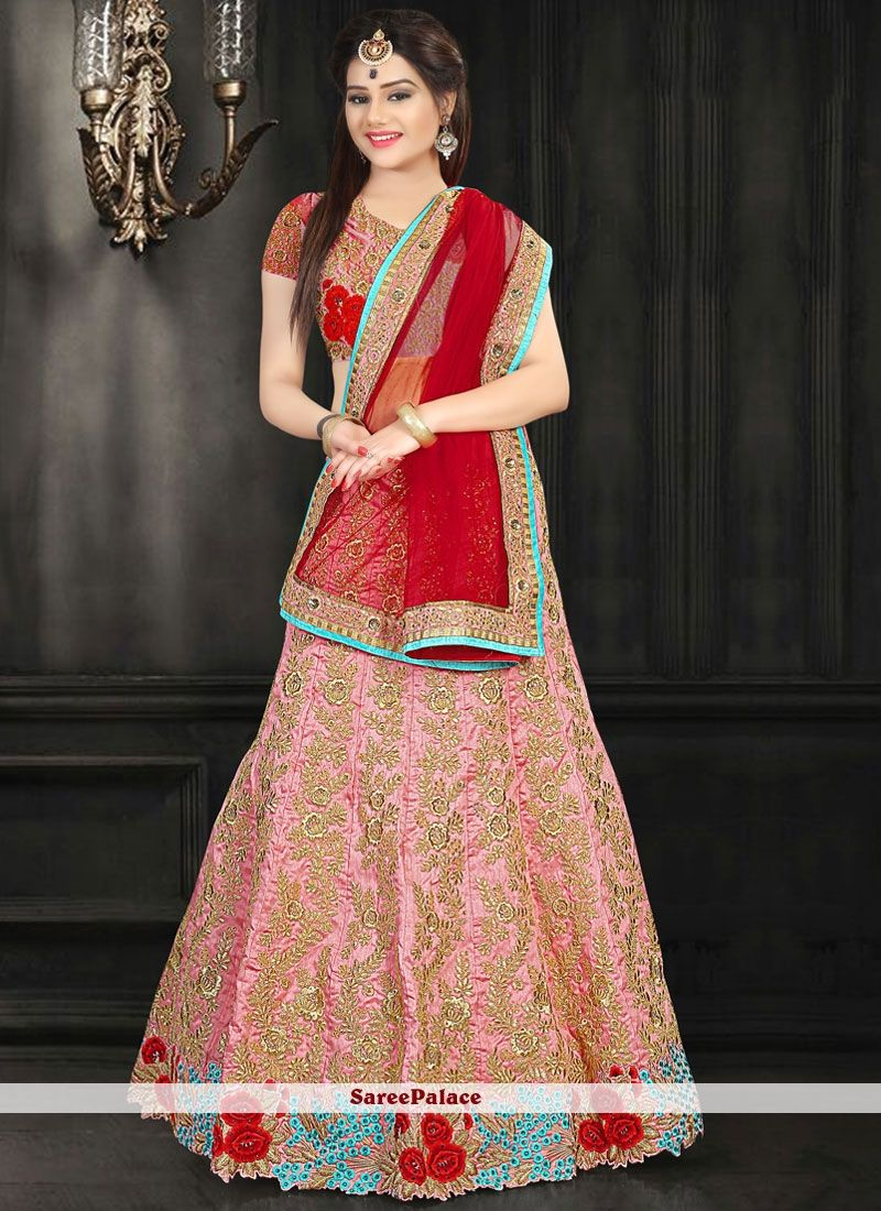 510ed308f8 Lovely Art Silk Red and Rose Pink Patch Border Work Lehenga Choli in ...