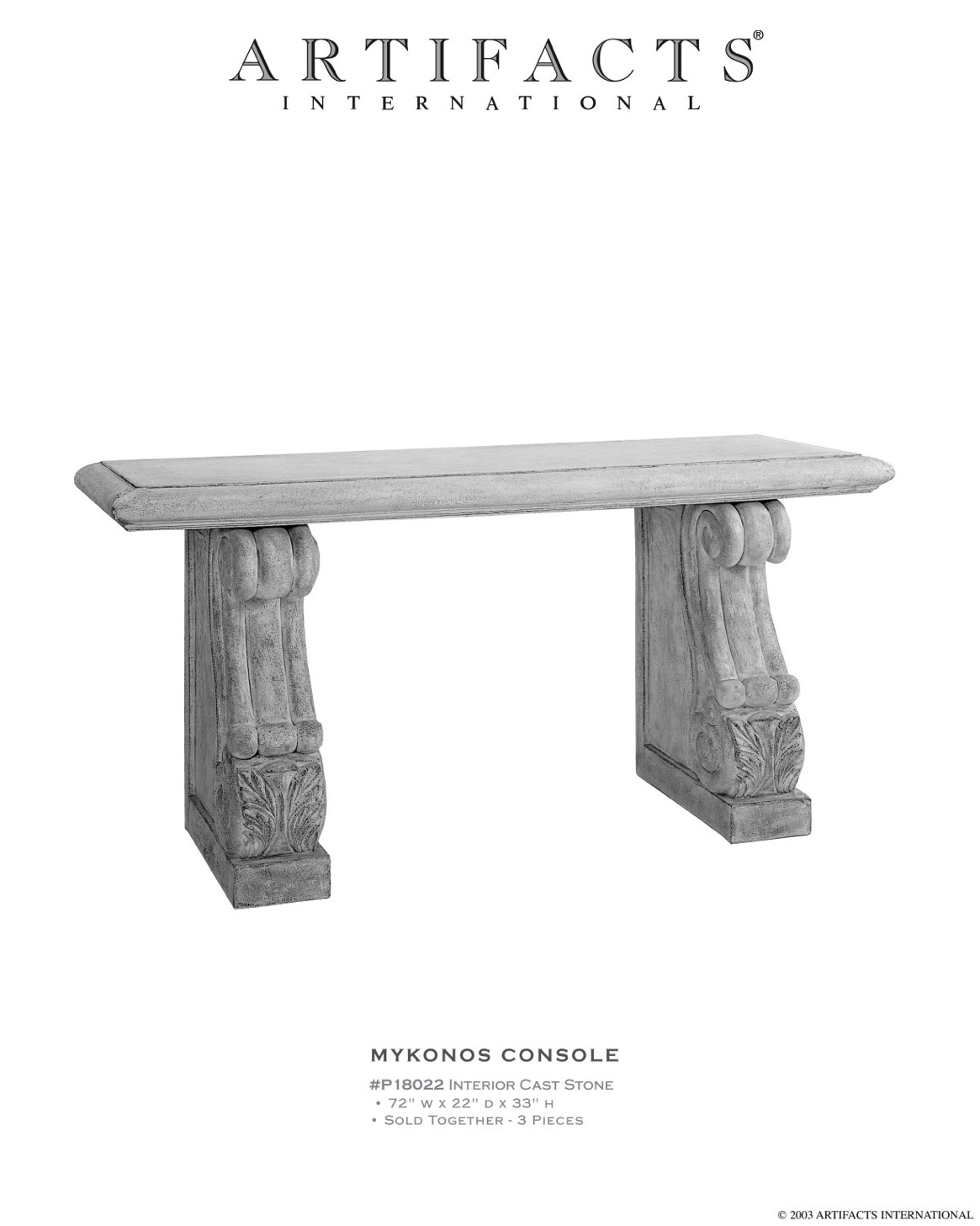 Artifacts International Cast Stone Fiberstone Console Tables Table