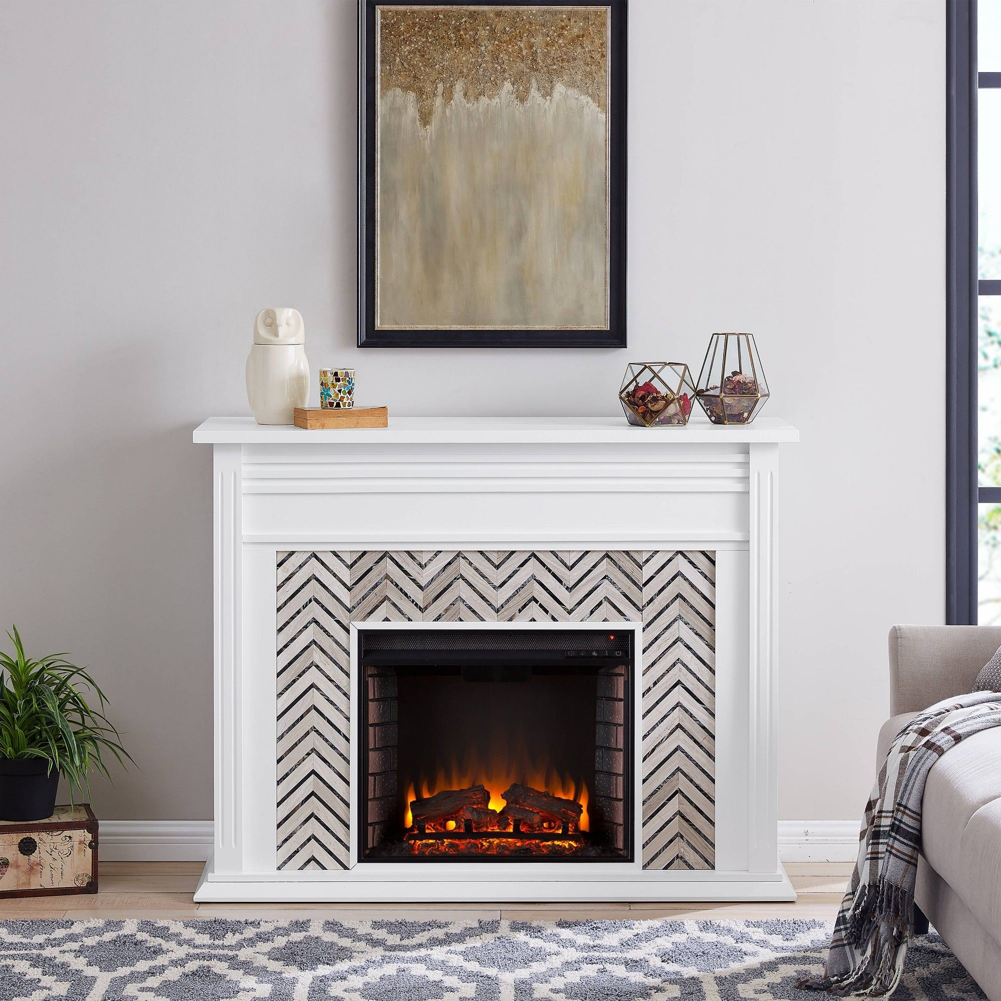 Horngrave Tiled Marble Color Changing Fireplace Gray Aiden Lane