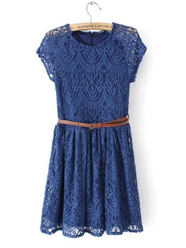 Round Neck Belt Lace Short Pleated Dress