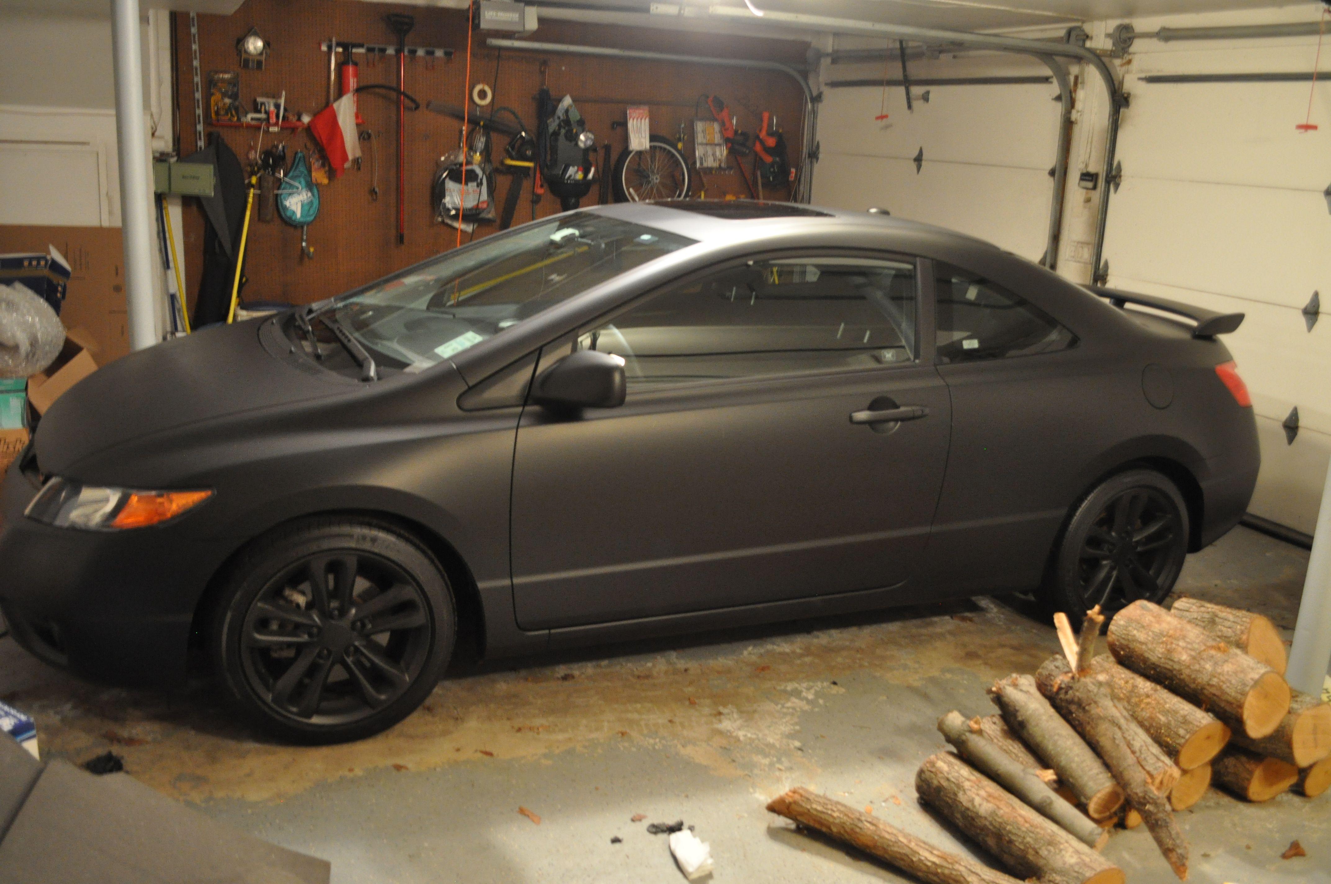 Matte Black Vinyl Wrap Honda Civic Google Search Black Honda Honda Civic Honda Civic 2012
