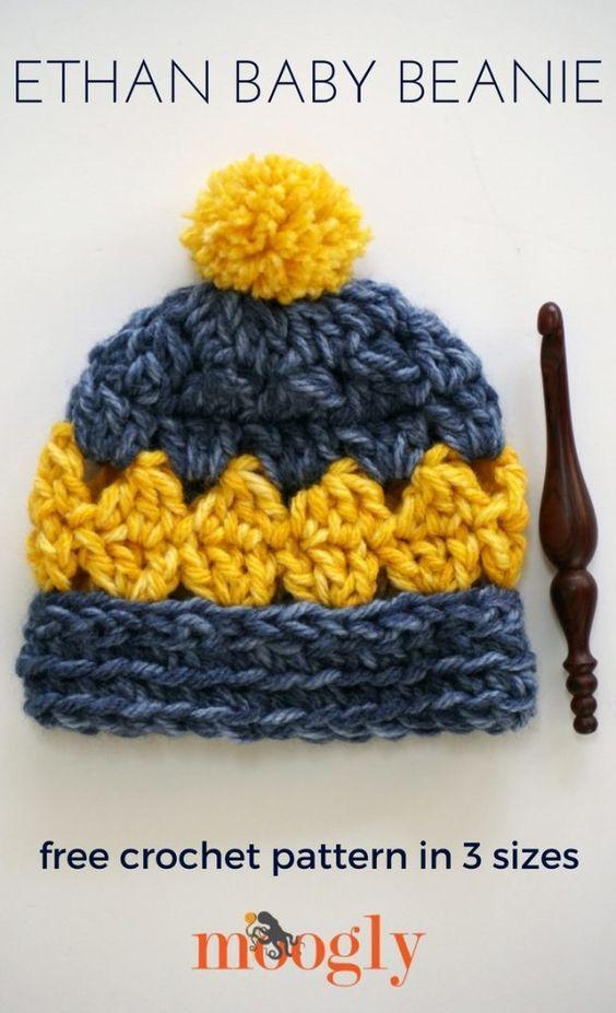 Ethan Baby Beanie - free crochet pattern | Pinterest | Deberes