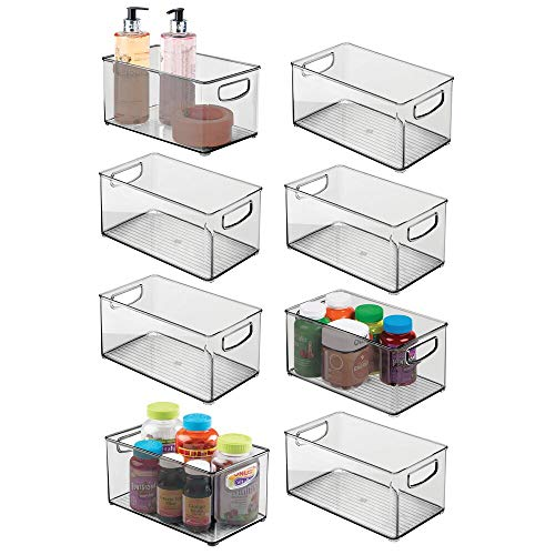 Mdesign Deep Plastic Storage Bin With Handles For Organizing Hand Soaps Storagevat Com Stylish S In 2020 Plastic Storage Bins Vanity Storage