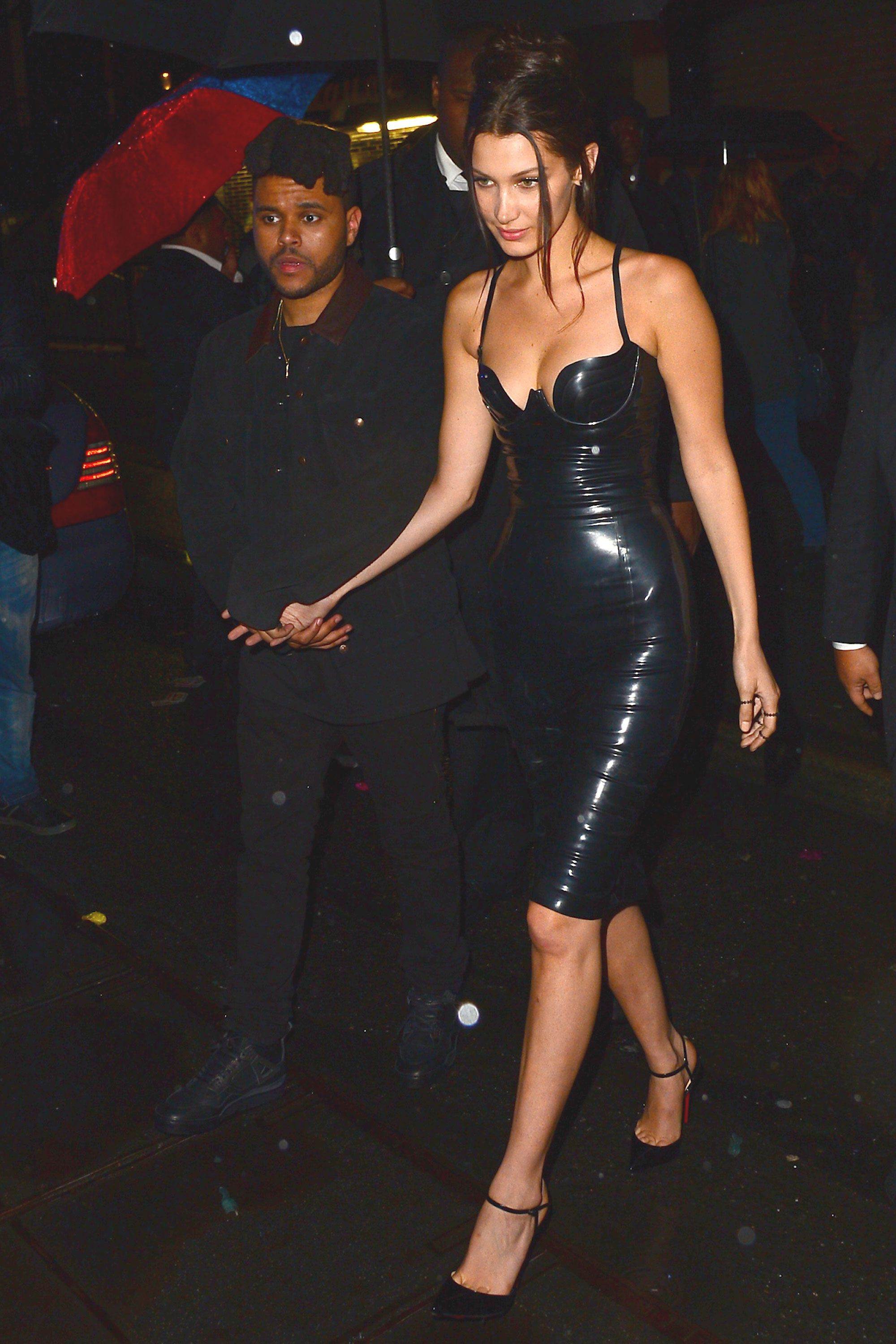 2 May Bella Hadid opted for a patent latex dress by Atsuko Kudo for the glamorous party.   - HarpersBAZAAR.co.uk